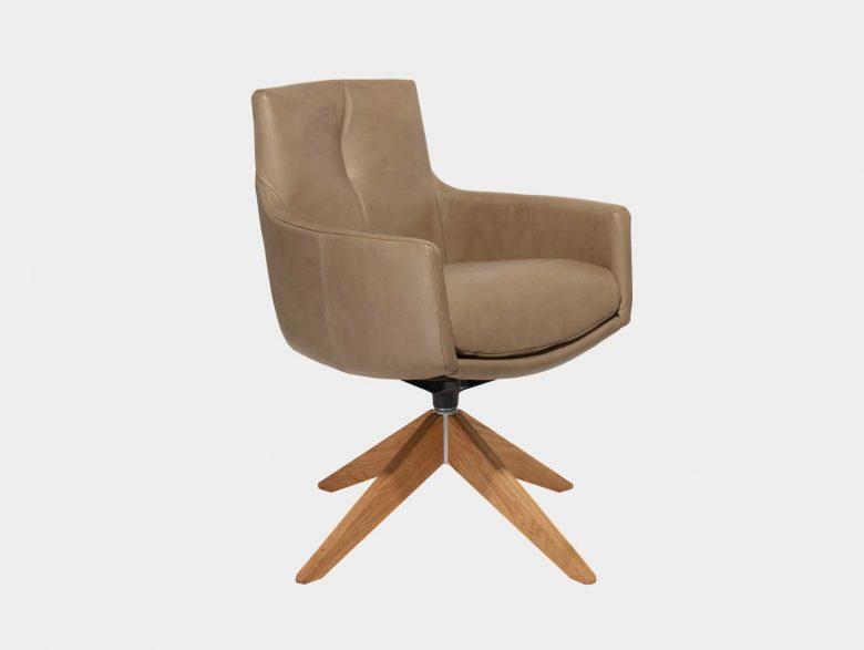 Drehstuhl Sessel Armlehne Leder Holzgestell