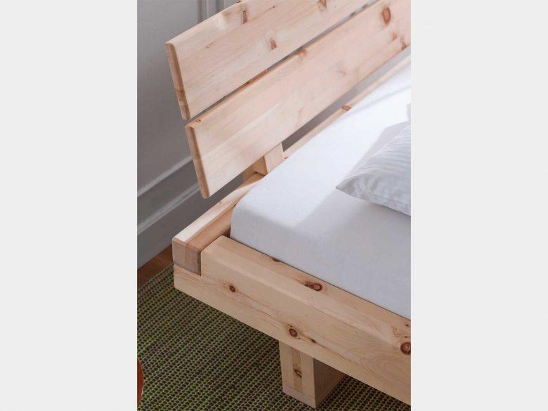Balkenbett Holzkufe Zirbe