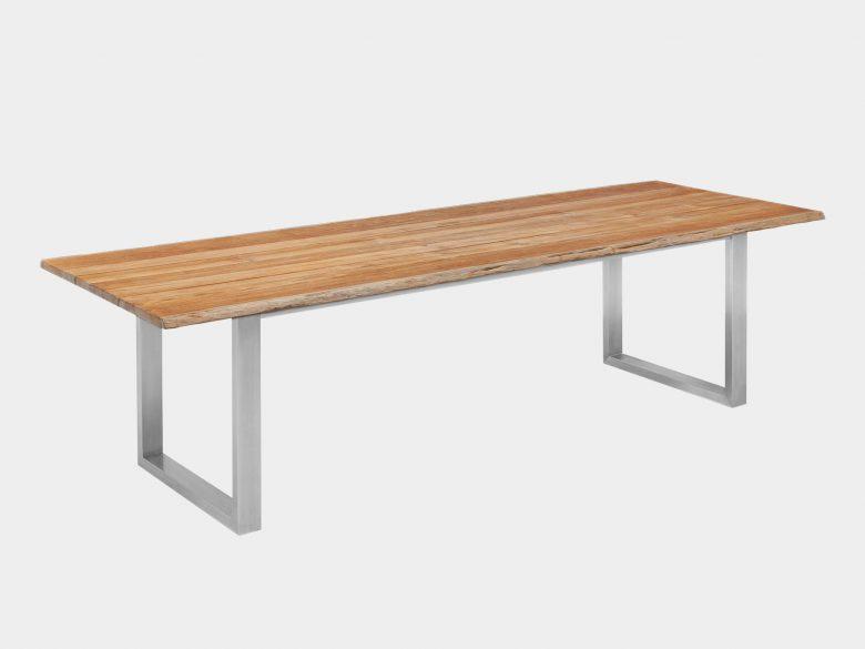 Baumkante Edelstahl Tisch
