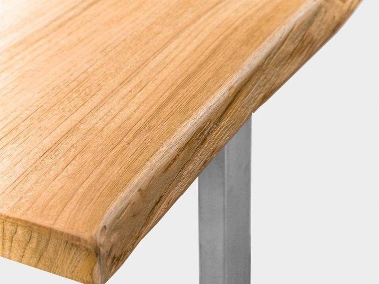 Baumkante Edelstahl Tisch Detail