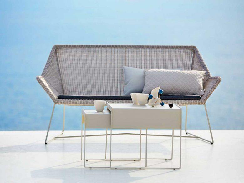 Loungesofa 2-Sitzer weissgrau