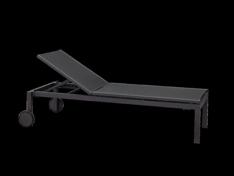 Sonnenliege aus pulverbeschichtetem Aluminium mit mehrfach verstellbarem Rücken und großen Rollen. Besonders hohen Komfort durch eine erhöhte Liegefläche. Gestell aus pulverbeschichtetem Aluminium, Liegefläche aus Textilene