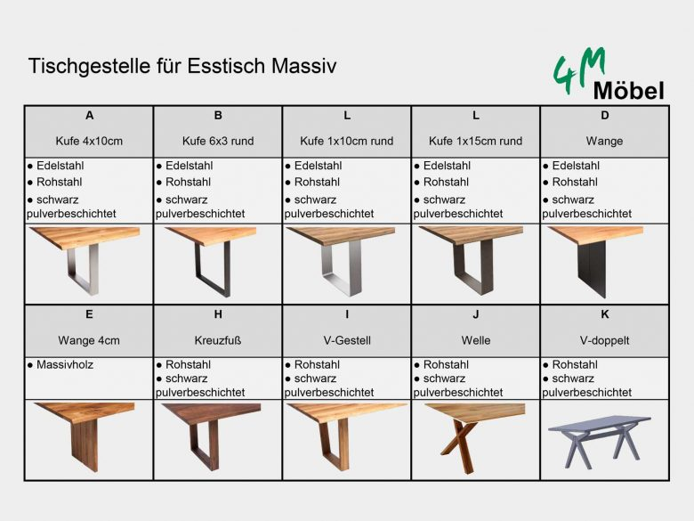Tischgestelle Massivholztisch