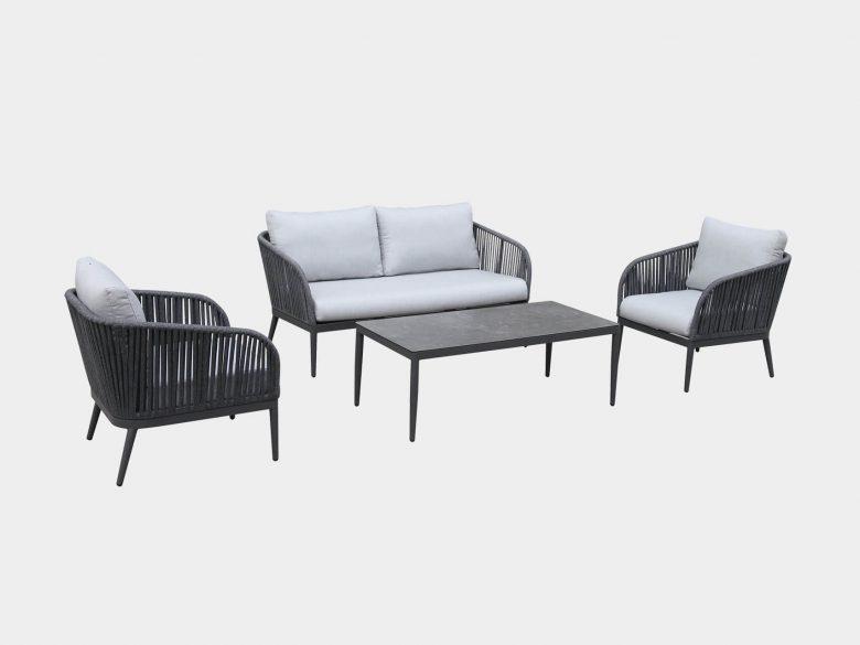 Loungeset 2-Sitzer Sessel Loungetisch