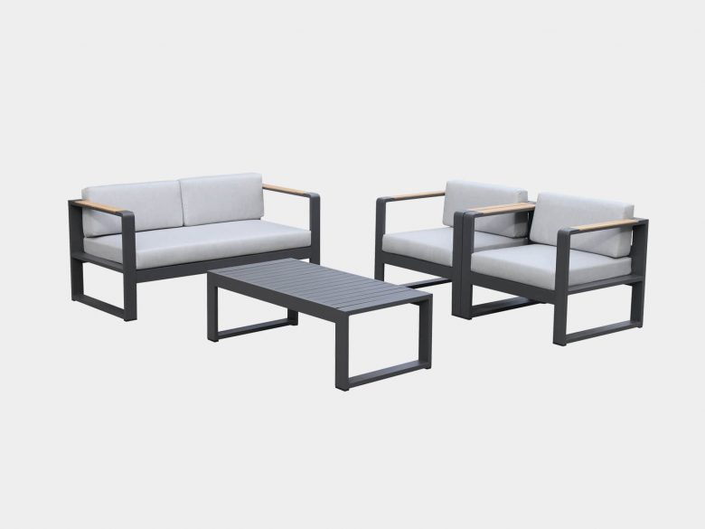 Loungeset Aluminium Zweisitzer Sessel Loungetisch