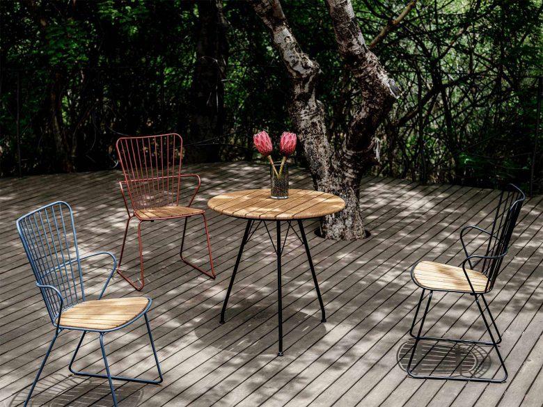 Gartenstuhl Bistrotisch Bambus Aluminium