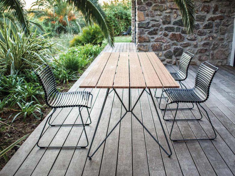 Gartentisch Bambus Stahl pulverbeschichtet