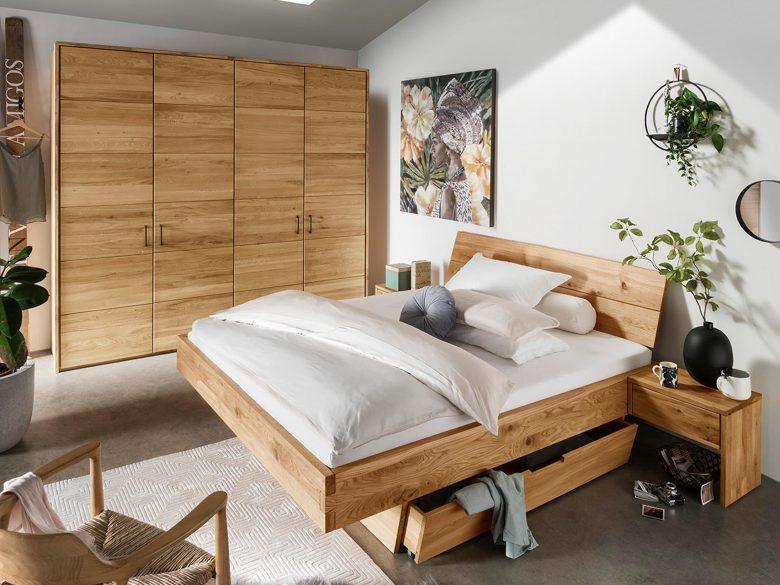 Kleiderschrank Massivholz Bett Schubkasten