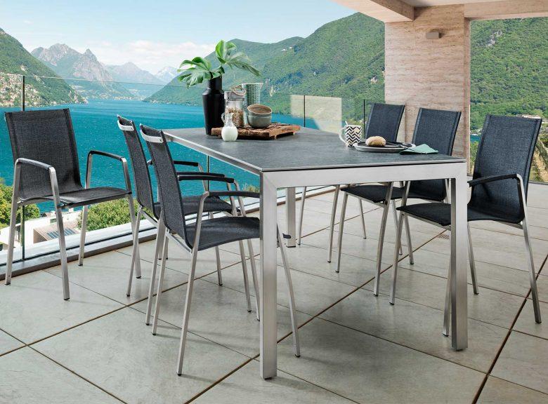 Gartentisch Como mit Gestell aus Edelstahl