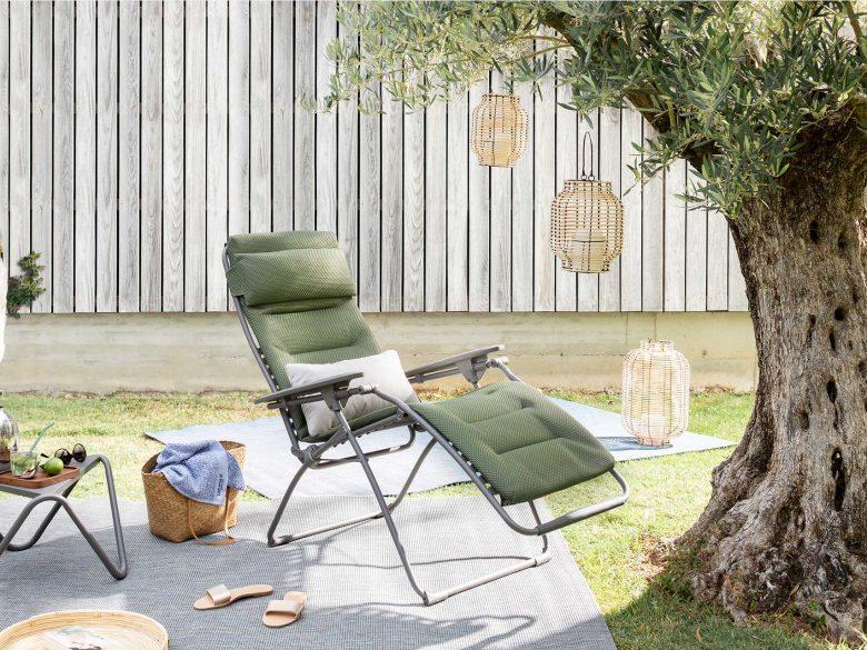 La Fuma Gartenstuhl mit Verstellfunktion, atmungsaktiver Bezug olive, extra breit
