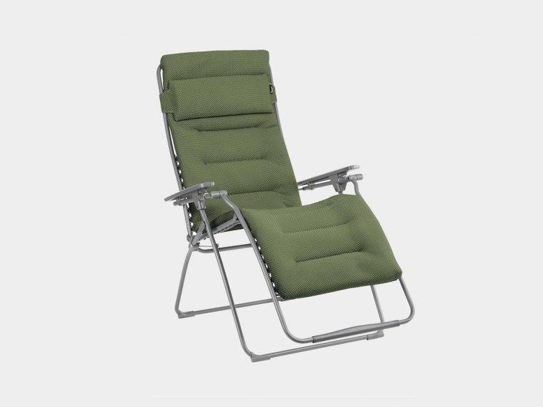 Gartenstuhl mit Verstellfunktion, atmungsaktiver Bezug olive, extra breit
