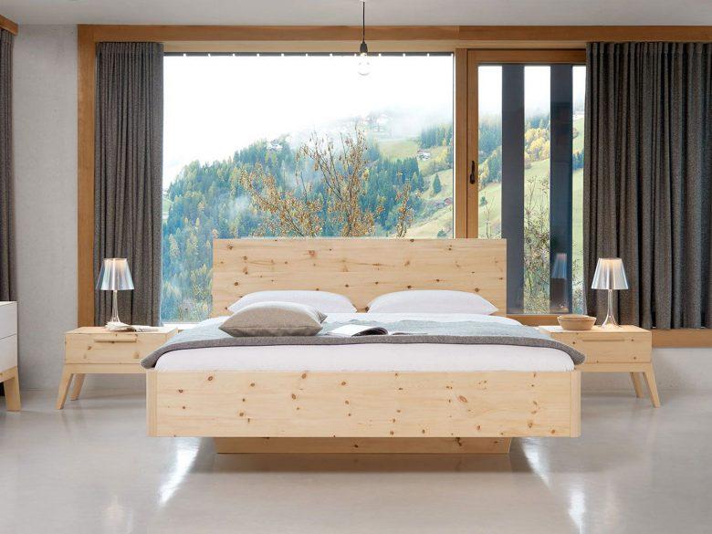Bettrahmen massivholz Tirol Zirbe Buche Kiefer Eiche Nussbaum Kopfteil Schwebebett Natur natürliches schlafen gesundheit