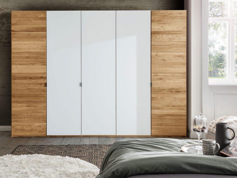 Kleiderschrank Massivholz Schlafzimmer RaumklimaKernbuche Wildeiche Weißglas